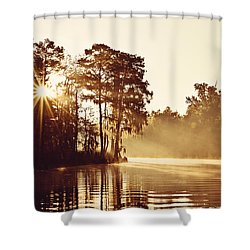 Sunrise On The Bayou Shower Curtain by Scott Pellegrin