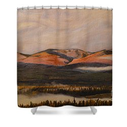 Shower Curtain featuring the painting Sunrise On The Ibex Valley by Brian Boyle