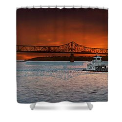 Sunrise On The Illinois River Shower Curtain by Thomas Woolworth