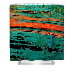 Shower Curtain featuring the painting Sunrise On The Water by Jacqueline McReynolds