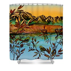 Sunrise On Willows Shower Curtain by Carolyn Doe