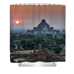sunrise over Bagan Shower Curtain by Juergen Ritterbach