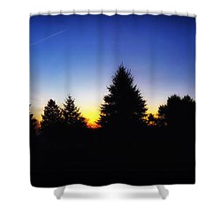 Sunrise Over East Lawn Panorama Shower Curtain by Thomas Woolworth