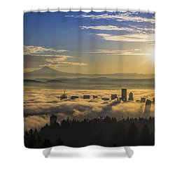 Sunrise Over Foggy Portland Shower Curtain