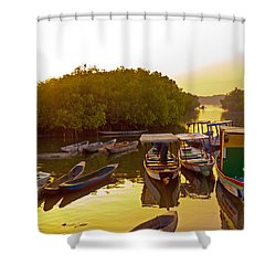 Sunrise Over Gambian Creek Shower Curtain
