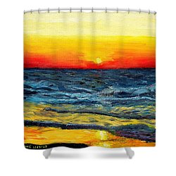 Shower Curtain featuring the painting Sunrise Over Paradise by Shana Rowe Jackson
