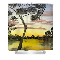 Sunrise Over The Murray River At Lowson South Australia Shower Curtain
