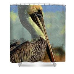 Sunrise Pelican Shower Curtain