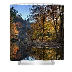 Sunrise Reflection Below Kyles Landing Shower Curtain by Michael Dougherty