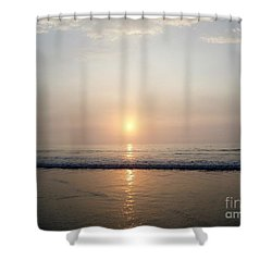 Sunrise Reflection Shines Upon The Atlantic Shower Curtain by Eunice Miller