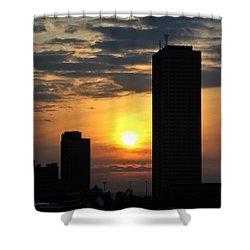 Sunrise Silhouette Buffalo Ny V2 Shower Curtain by Michael Frank Jr