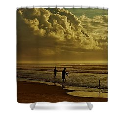 Sunrise Surf Fishing Shower Curtain by Ed Sweeney