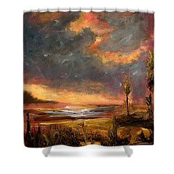 Sunrise With Birds  Shower Curtain