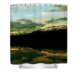 Sunset 1 Rainy Lake Shower Curtain