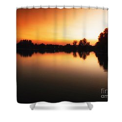 Sunset A Lake In Mansfield Il Shower Curtain by Thomas Woolworth