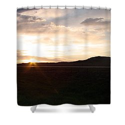 Shower Curtain featuring the photograph Sunset Across I 90 by Cathy Anderson