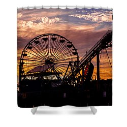 Sunset Amusement Park Farris Wheel On The Pier Fine Art Photography Print Shower Curtain