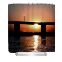 Shower Curtain featuring the photograph Sunset And Bridge by Debra Forand