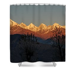 Sunset And Moonrise. The Rendezvous. Shower Curtain by Fotosas Photography