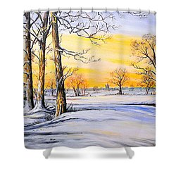 Sunset And Snow Shower Curtain by Andrew Read