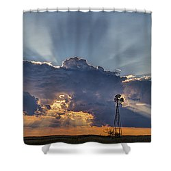 Sunset And Windmill Shower Curtain by Rob Graham