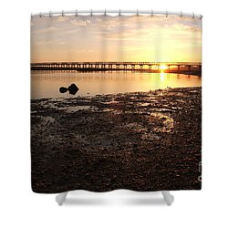 Sunset And Wooden Bridge In Ludo Shower Curtain