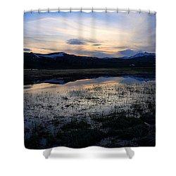 Sunset At A Lake Near Mammoth In Yellowstone Shower Curtain