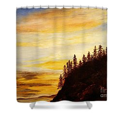 Shower Curtain featuring the painting Sunset At Bass Harbor by Lee Piper
