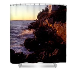Sunset At Bass Harbor Lighthouse Shower Curtain by Brent L Ander