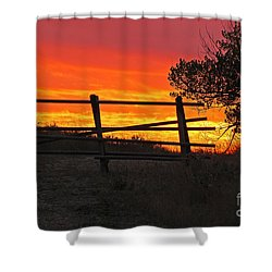 Sunset At Bear Butte Shower Curtain by Mary Carol Story