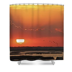 Sunset At Cheyenne Bottoms Shower Curtain by Rob Graham