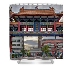 Shower Curtain featuring the photograph Sunset At Chinatown Gate In Seattle Washington by JPLDesigns