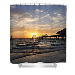 Sunset At Clearwater Shower Curtain by Bill Cannon