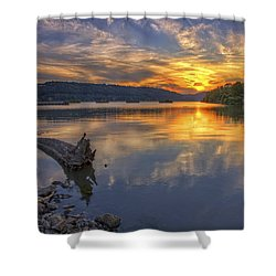 Sunset At Cook's Landing - Arkansas River Shower Curtain
