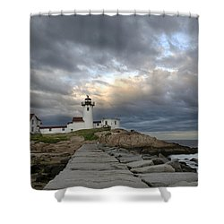 Sunset At Eastern Point Lighthouse Shower Curtain