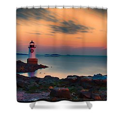Sunset At Fort Pickering Lighthouse Shower Curtain by Jeff Folger
