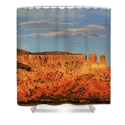 Shower Curtain featuring the photograph Sunset At Ghost Ranch by Alan Vance Ley