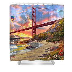 Sunset At Golden Gate Shower Curtain