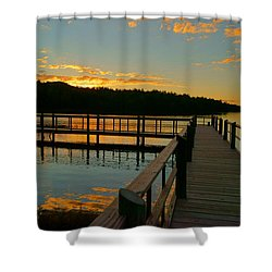 Shower Curtain featuring the photograph Sunset At Lake Mcintosh by Chris Fraser