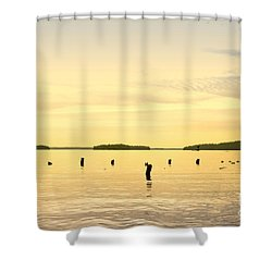 Shower Curtain featuring the photograph Sunset At Lake Muskoka by Les Palenik
