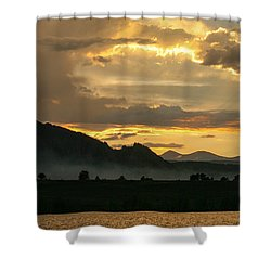Smokey Sunset At Marshall Lake Shower Curtain by Juli Ellen