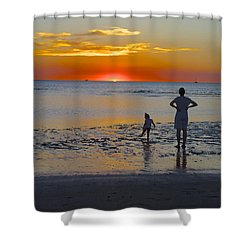 Sunset At Mindil Beach Shower Curtain by Venetia Featherstone-Witty