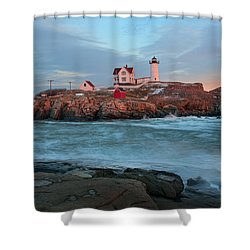 Sunset At Nubble Lighthouse Shower Curtain by Sharon Seaward