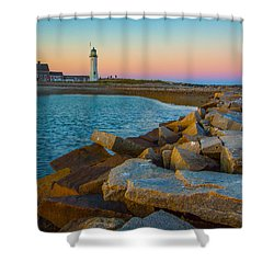 Sunset At Old Scituate Lighthouse Shower Curtain