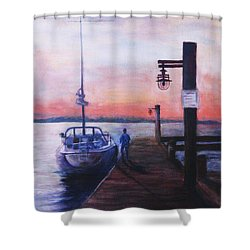 Shower Curtain featuring the painting Sunset At Rocky Point by Sher Nasser