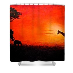 Shower Curtain featuring the painting Sunset At Serengeti by Sher Nasser