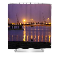 Sunset At Southampton Docks Shower Curtain by Terri Waters
