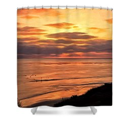 Sunset At Swami's Encinitas Shower Curtain by Michael Pickett