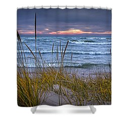 Sunset On The Beach At Lake Michigan With Dune Grass Shower Curtain by Randall Nyhof