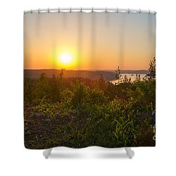 Sunset At The Lake Hiidenvesi Shower Curtain
